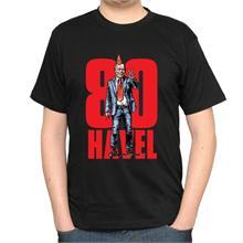 Pánské černé triko s nápisem 80 HAVEL a ilustrací