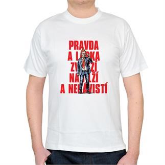 Pánské bílé triko s nápisem Pravda a láska...