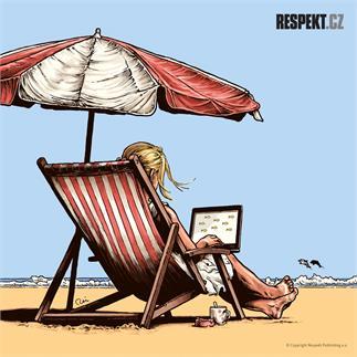 Ilustrace z titulní strany Respektu 25/2014