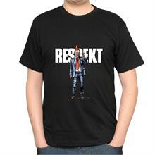 Pánské černé triko s nápisem Respekt a ilustrací Havla