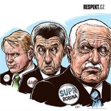 Ilustrace z titulní strany Respektu 36/2013