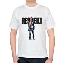 Pánské bílé triko s nápisem Respekt a ilustrací Havla