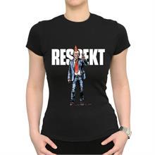 Dámské černé triko s nápisem Respekt a ilustrací Havla