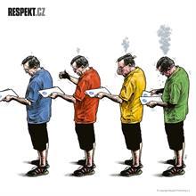 Ilustrace z titulní strany Respektu 35/2014