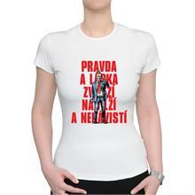 Dámské bílé triko s nápisem Pravda a láska...