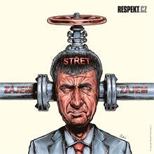 Ilustrace z titulní strany Respektu 21/2014