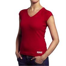 Červené tričko do V s krátkým rukávem a logem