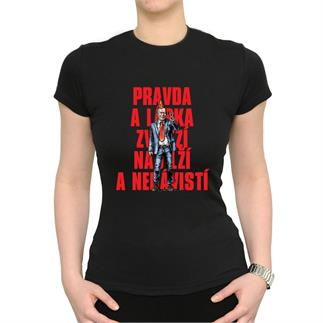 Dámské černé triko s nápisem Pravda a láska...